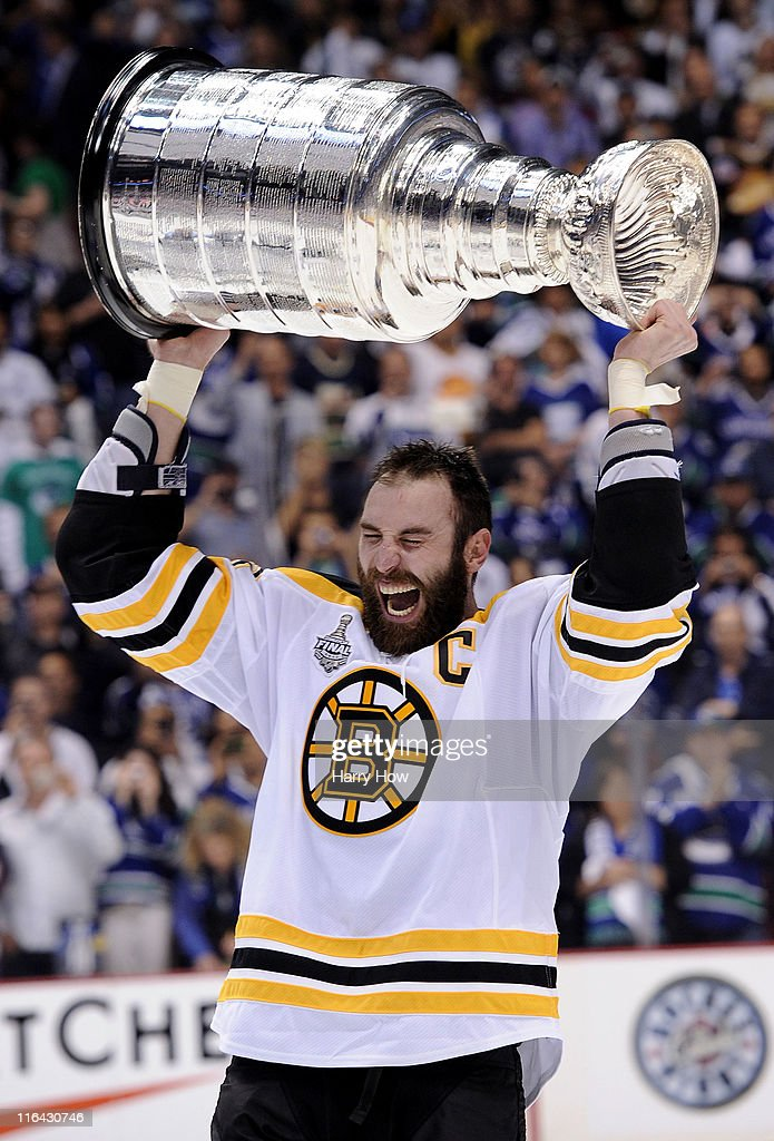 <a gi-track='captionPersonalityLinkClicked' href=/galleries/search?phrase=Zdeno+Chara&family=editorial&specificpeople=203177 ng-click='$event.stopPropagation()'>Zdeno Chara</a> #33 of the Boston Bruins celebrates with the Stanley Cup after defeating the Vancouver Canucks in Game Seven of the 2011 NHL Stanley Cup Final at Rogers Arena on June 15, 2011 in Vancouver, British Columbia, Canada. The Boston Bruins defeated the Vancouver Canucks 4 to 0.