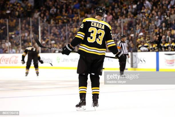 Zdeno Chara of the Boston Bruins during the second period against the Vancouver Canucks at TD Garden on October 19 2017 in Boston Massachusetts