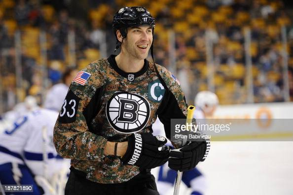 zdeno chara of the boston bruins during warm ups wearing a camouflage