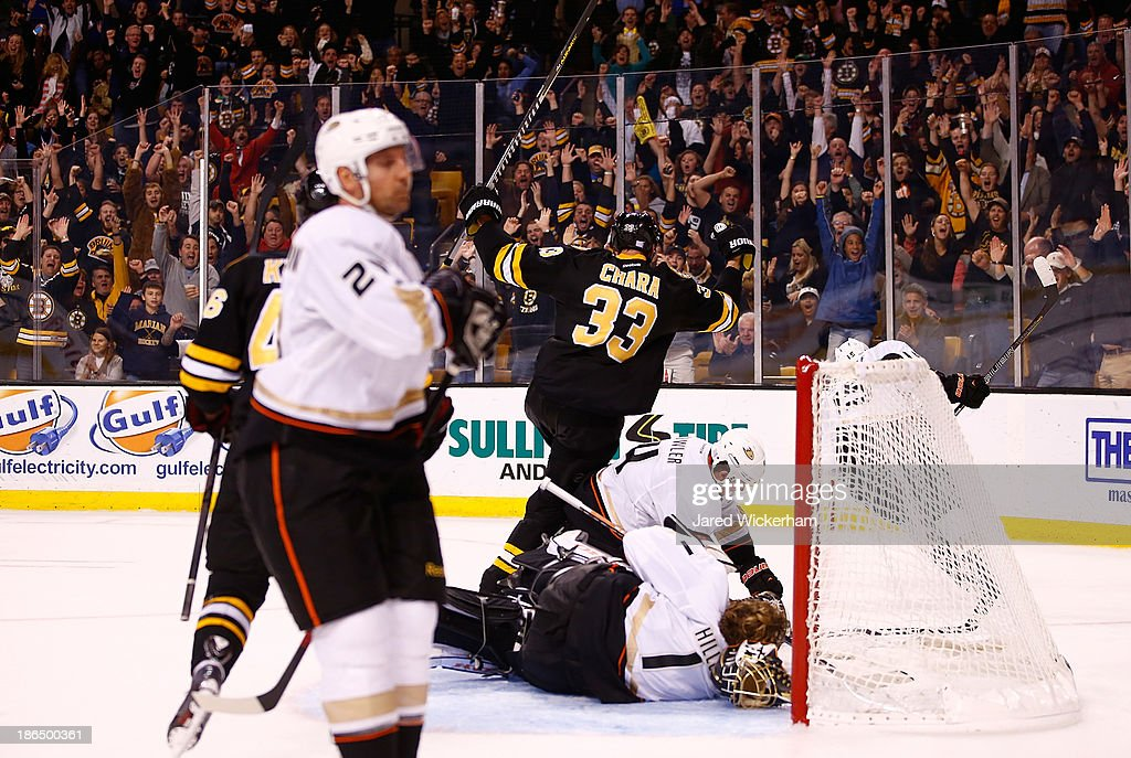 <a gi-track='captionPersonalityLinkClicked' href=/galleries/search?phrase=Zdeno+Chara&family=editorial&specificpeople=203177 ng-click='$event.stopPropagation()'>Zdeno Chara</a> #33 of the Boston Bruins is celebrates after scoring in the third period against the Anaheim Ducks at TD Garden on October 31, 2013 in Boston, Massachusetts.