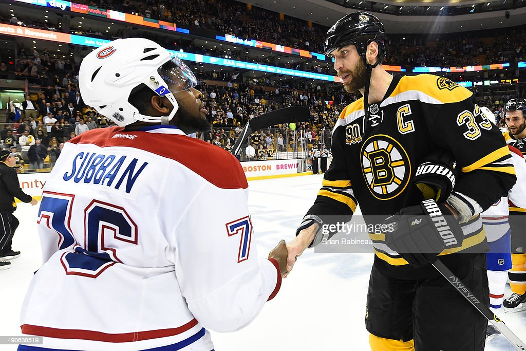 <a gi-track='captionPersonalityLinkClicked' href=/galleries/search?phrase=Zdeno+Chara&family=editorial&specificpeople=203177 ng-click='$event.stopPropagation()'>Zdeno Chara</a> #33 of the Boston Bruins shakes hands with <a gi-track='captionPersonalityLinkClicked' href=/galleries/search?phrase=P.K.+Subban&family=editorial&specificpeople=714418 ng-click='$event.stopPropagation()'>P.K. Subban</a> #76 of the Montreal Canadiens in Game Seven of the Second Round of the 2014 Stanley Cup Playoffs at TD Garden on May 14, 2014 in Boston, Massachusetts.