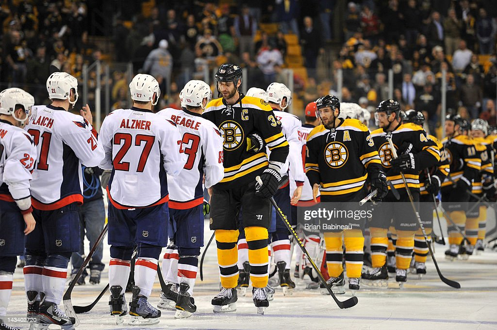 <a gi-track='captionPersonalityLinkClicked' href=/galleries/search?phrase=Zdeno+Chara&family=editorial&specificpeople=203177 ng-click='$event.stopPropagation()'>Zdeno Chara</a> #33 of the Boston Bruins shakes hands with the Washington Capitals after the loss in Game Seven of the Eastern Conference Quarterfinals during the 2012 NHL Stanley Cup Playoffs at TD Garden on April 25, 2012 in Boston, Massachusetts.