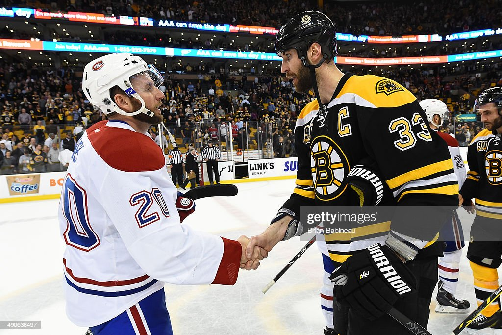 <a gi-track='captionPersonalityLinkClicked' href=/galleries/search?phrase=Zdeno+Chara&family=editorial&specificpeople=203177 ng-click='$event.stopPropagation()'>Zdeno Chara</a> #33 of the Boston Bruins shakes hands with <a gi-track='captionPersonalityLinkClicked' href=/galleries/search?phrase=Thomas+Vanek&family=editorial&specificpeople=570606 ng-click='$event.stopPropagation()'>Thomas Vanek</a> #20 of the Montreal Canadiens in Game Seven of the Second Round of the 2014 Stanley Cup Playoffs at TD Garden on May 14, 2014 in Boston, Massachusetts.