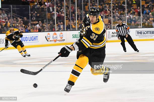 Zdeno Chara of the Boston Bruins shoots the puck against the Detroit Red Wings at the TD Garden on April 7 2016 in Boston Massachusetts