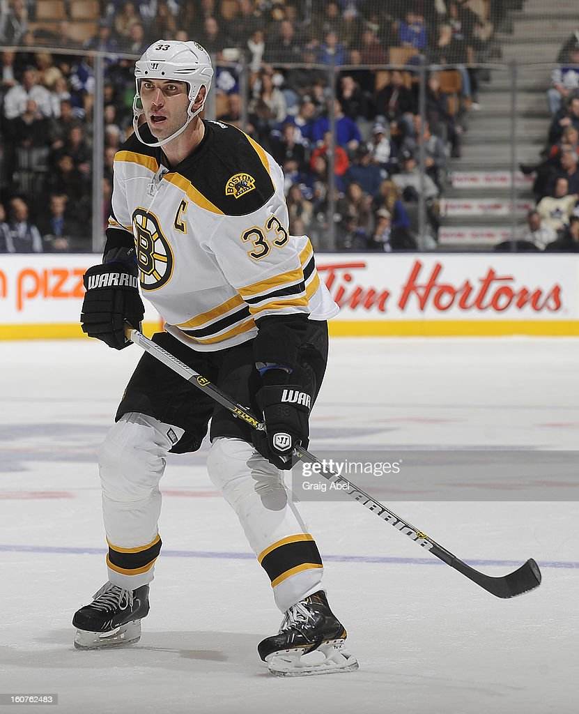 Zdeno Chara #33 of the Boston Bruins skates during NHL game action against the Toronto Maple Leafs February 2, 2013 at the Air Canada Centre in Toronto, Ontario, Canada.