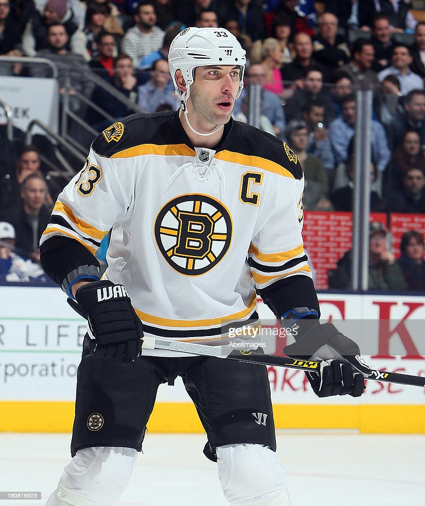 Zdeno Chara #33 of the Boston Bruins skates up the ice against the Toronto Maple Leafs during NHL action at the Air Canada Centre February 2, 2013 in Toronto, Ontario, Canada.