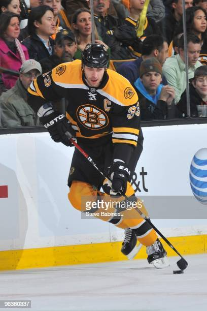 Zdeno Chara of the Boston Bruins skates with the puck against the Washington Capitals at the TD Garden on February 2 2010 in Boston Massachusetts