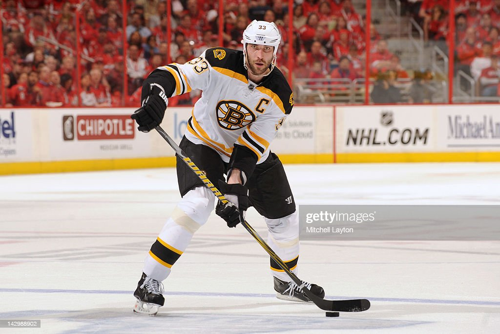 <a gi-track='captionPersonalityLinkClicked' href=/galleries/search?phrase=Zdeno+Chara&family=editorial&specificpeople=203177 ng-click='$event.stopPropagation()'>Zdeno Chara</a> #33 of the Boston Bruins takes a shot during Game Three of the Eastern Conference Quarterfinals of the 2012 NHL Stanley Cup Playoffs against the Washington Capitals on April 16, 2012 at the Verizon Center in Washington, DC.