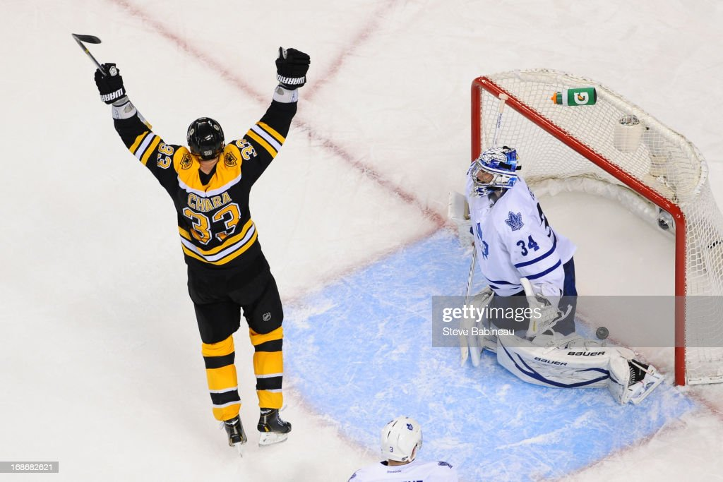 Zdeno Chara #33 of the Boston Bruins throws his arms up after a goal against James Reimer #34 of the Toronto Maple Leafs in Game Seven of the Eastern Conference Quarterfinals during the 2013 NHL Stanley Cup Playoffs at TD Garden on May 13, 2013 in Boston, Massachusetts.