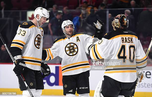 Zdeno Chara Patrice Bergeron and Tuukka Rask of the Boston Bruins celebrate after defeating the the Montreal Canadiens in the NHL game at the Bell...