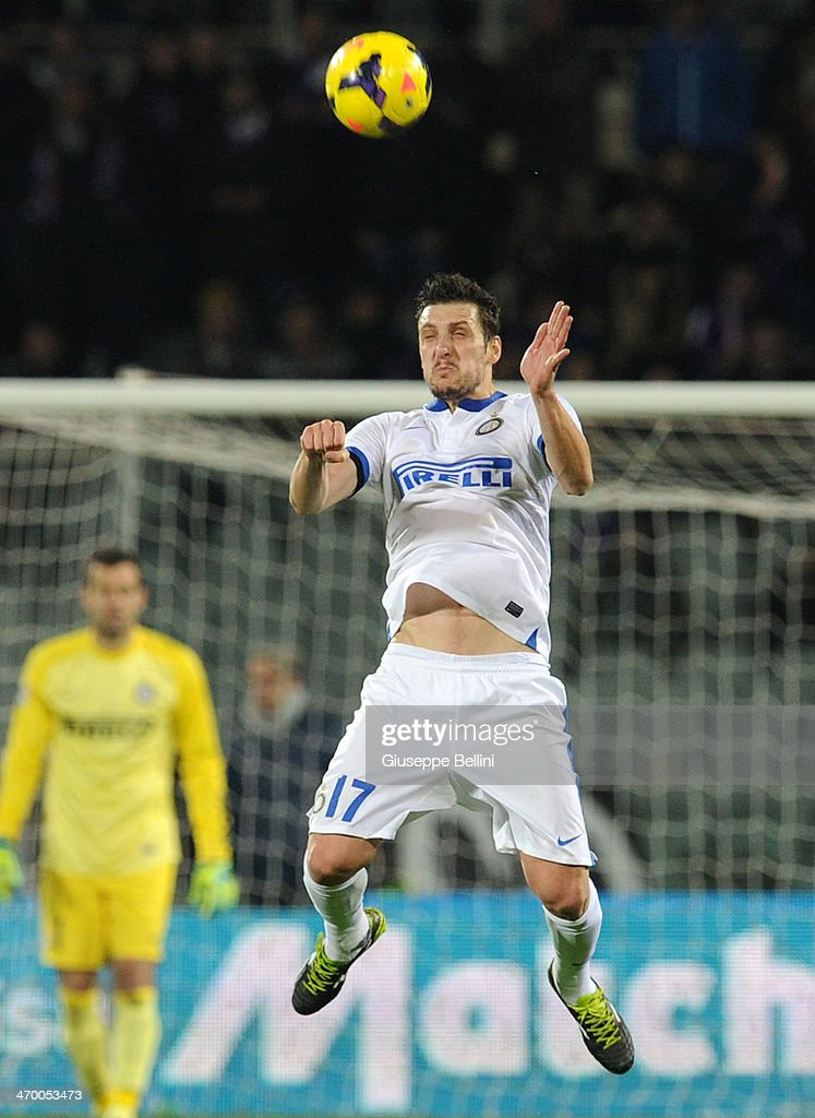 Zdravko Kuzmanovic of Inter in action during the Serie A match between ACF Fiorentina and FC Internazionale Milano at Stadio Artemio Franchi on February 15, 2014 in Florence, Italy.