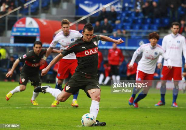 Zdravko Kuzmanovic of Stuttgart scores his team's third goal during the Bundesliga match between Hamburger SV and VfB Stuttgart at Imtech Arena on...