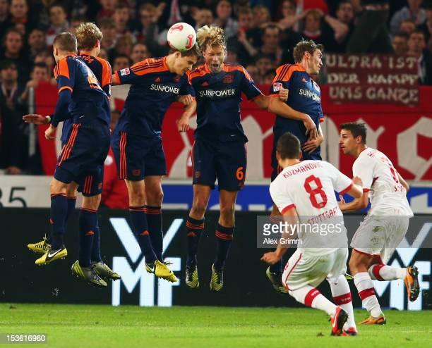 Zdravko Kuzmanovic of Stuttgart tries to score with a freekick during the Bundesliga match between VfB Stuttgart and Bayer 04 Leverkusen at...