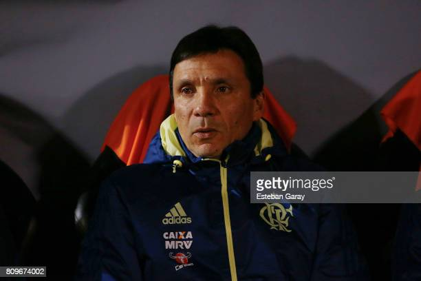 Ze Ricardo coach of Flamengo looks on during a match between Palestino and Flamengo as part of second round of Copa Conmebol Sudamericana 2017 at San...