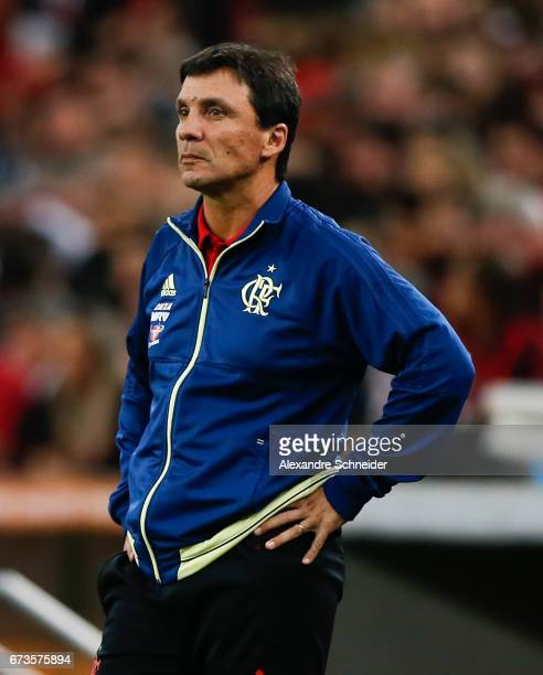 Ze Ricardo hed coach of Flamengo in action during the match between Atletico PR of Brazil and Flamengo of Brazil for the Copa Bridgestone...