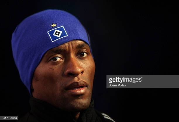 Ze Roberto of Hamburg talks to the media after the Hamburger SV training session at the HSH Nordbank Arena on January 12 2010 in Hamburg Germany