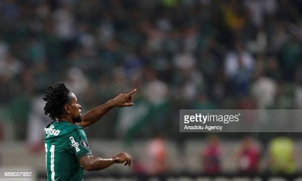 Ze Roberto of Palmeiras celebrates after scoring a goal during Copa Libertadores of America match between Palmeiras and Atletico Tucuman in Sao Paulo...