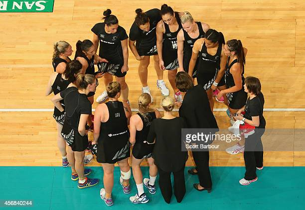 Zealand coach Waimarama Taumaunu speaks to the Silver Ferns as they form a huddle as they leave the court after losing the International Test match...