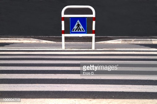 Zebra crossing and Pedestrian Sign : Stock Photo