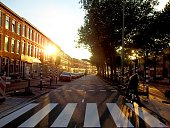Zebra Crossing And View Of Road At Sunset