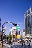 Zebra crossing in front of Shibuya train station, Shibuya Ward, Tokyo Prefecture, Honshu, Japan