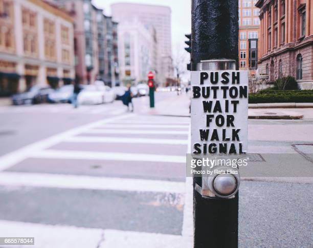 Zebra crossing push button