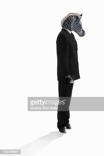 Zebra stands dressed as businessman : Foto de stock