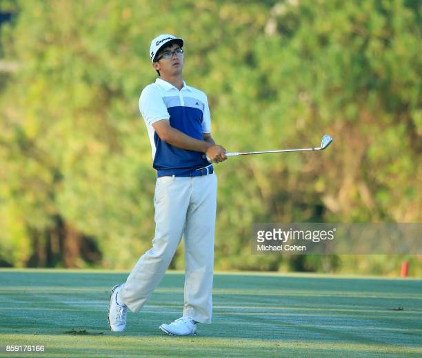 Zecheng Dou of China hits a shot during the second round of the Webcom Tour Championship held at Atlantic Beach Country Club on September 29 2017 in...