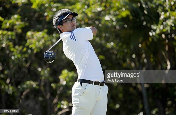 Zecheng Dou of China hits his tee shot on the 11th hole during the final round of The Bahamas Great Abaco Classic at the Abaco Club on January 25...