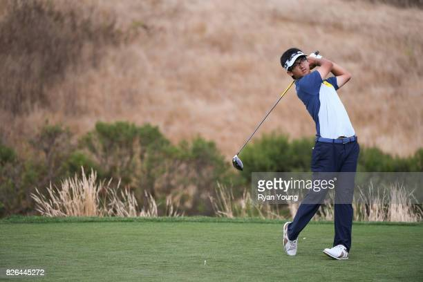 Zecheng Dou of China plays his shot from the 17th tee during the second round of the Webcom Tour Ellie Mae Classic at TPC Stonebrae on August 4 2017...