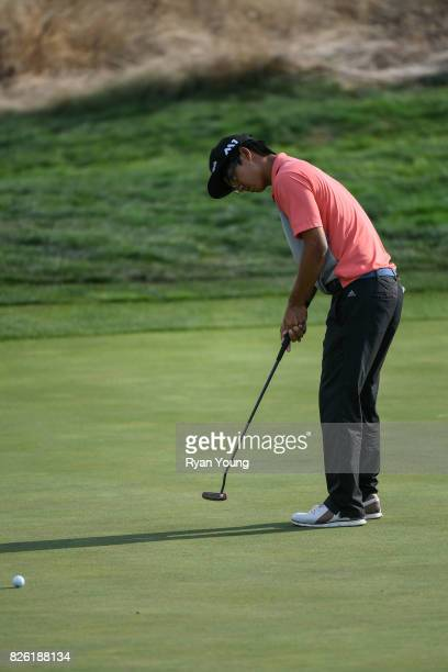 Zecheng Dou of China putts on the ninth green during the first round of the Webcom Tour Ellie Mae Classic at TPC Stonebrae on August 3 2017 in...