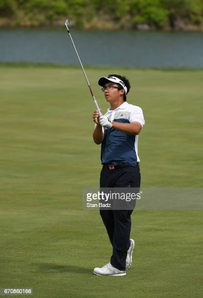 Zecheng Dou plays a shot on the 17th hole during the first round of the Webcom Tour United Leasing Finance Championship at Victoria National Golf...