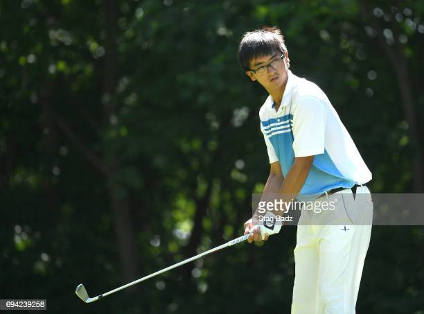 Zecheng Dou waits to play shot on the fouth hole during the second round of the Webcom Tour RustOleum Championship at Ivanhoe Club on June 9 2017 in...