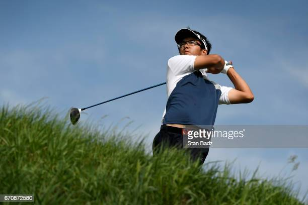 Zecheny Dou plays a tee shot on the ninth hole during the first round of the Webcom Tour United Leasing Finance Championship at Victoria National...