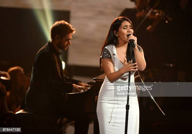 Zedd and Alessia Cara perform onstage during the 2017 American Music Awards at Microsoft Theater on November 19 2017 in Los Angeles California
