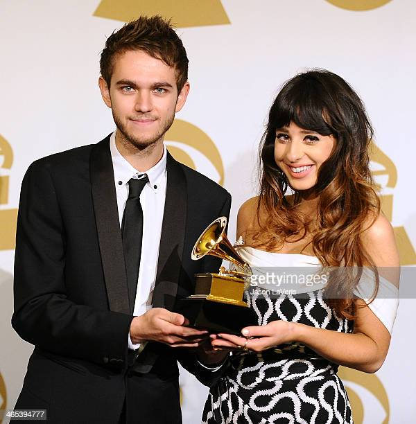 Zedd and Foxes pose in the press room at the 56th GRAMMY Awards at Staples Center on January 26 2014 in Los Angeles California