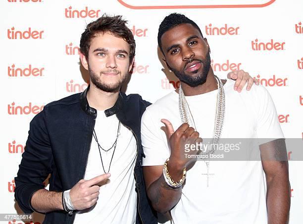 Zedd and singer Jason Derulo attend the Tinder Plus Launch Party featuring Jason Derulo and ZEDD at Hangar 8 Santa Monica at Barker Hangar on June 17...