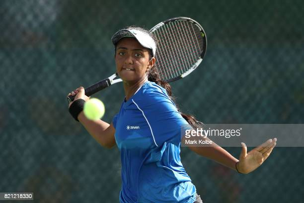 Zeel Desai of India competes in the Girl's Singles gold medal tennis match between Zeel Desai of India and Eliza Omirou of Cyprus on day 6 of the...