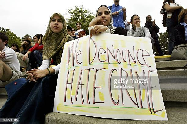 Zeena Sabri and Rima Karuf join members of the Society of Arab Students at the University of California Irvine to protest the destruction of a...
