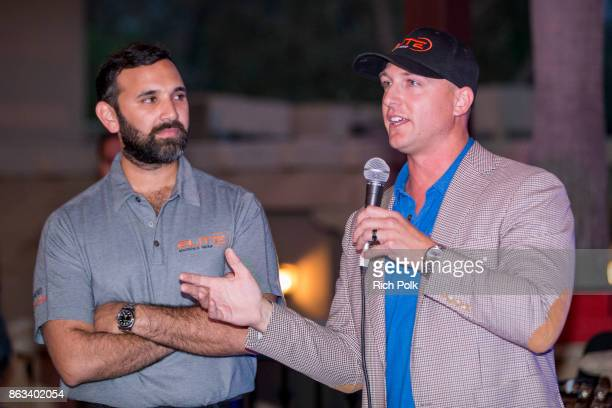 Zeeshawn Zia and Dustin Tillman onstage at the Swing Fore The Vets Charity Golf Tournament on October 19 2017 in Rancho Santa Margarita California