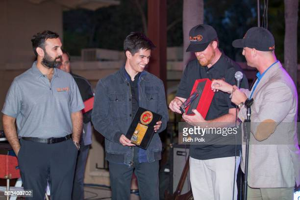 Zeeshawn Zia Richard Solis Phil Dixon and Dustin Tillman onstage at the Swing Fore The Vets Charity Golf Tournament on October 19 2017 in Rancho...