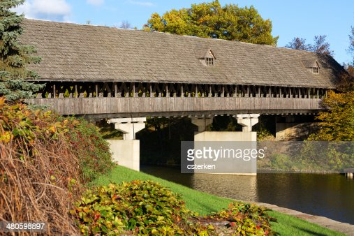 Zehnder's Covered Bridge in Frankenmuth Michigan : Stock Photo