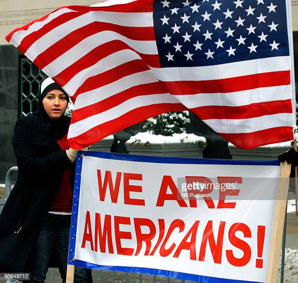 Zeinab Moushnia of Dearborn Michigan demonstrates in front of the Federal Courthouse where suspected terrorist Umar Farouk Abdulmutallab a 23year old...