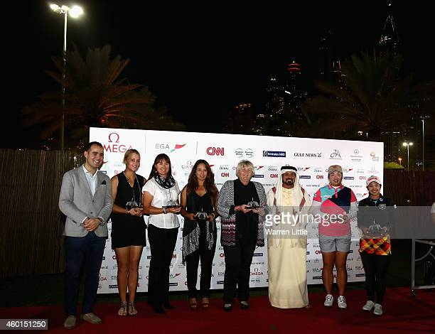 Zeki Ayan Omega International Sports Marketing Manager Anna Nordqvist of Sweden Sophie Gustafson of Sweden Maha Haddioui of Morroco Laura Davies of...