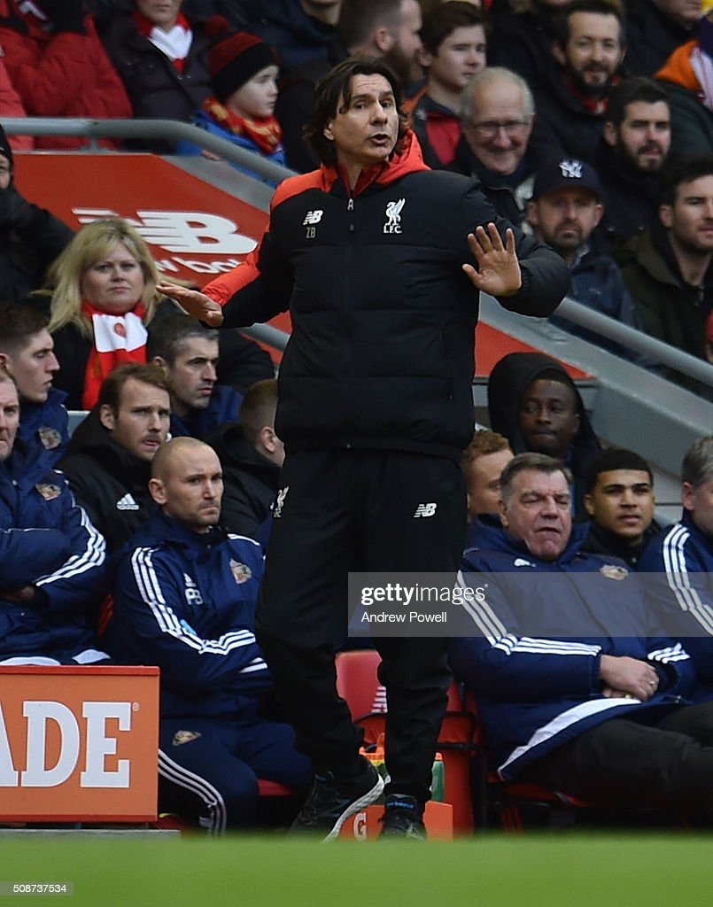 Zeljko Buvac assistant manager of Liverpool reacts during the Barclays Premier League match between Liverpool and Sunderland at Anfield on February 6, 2016 in Liverpool, England.