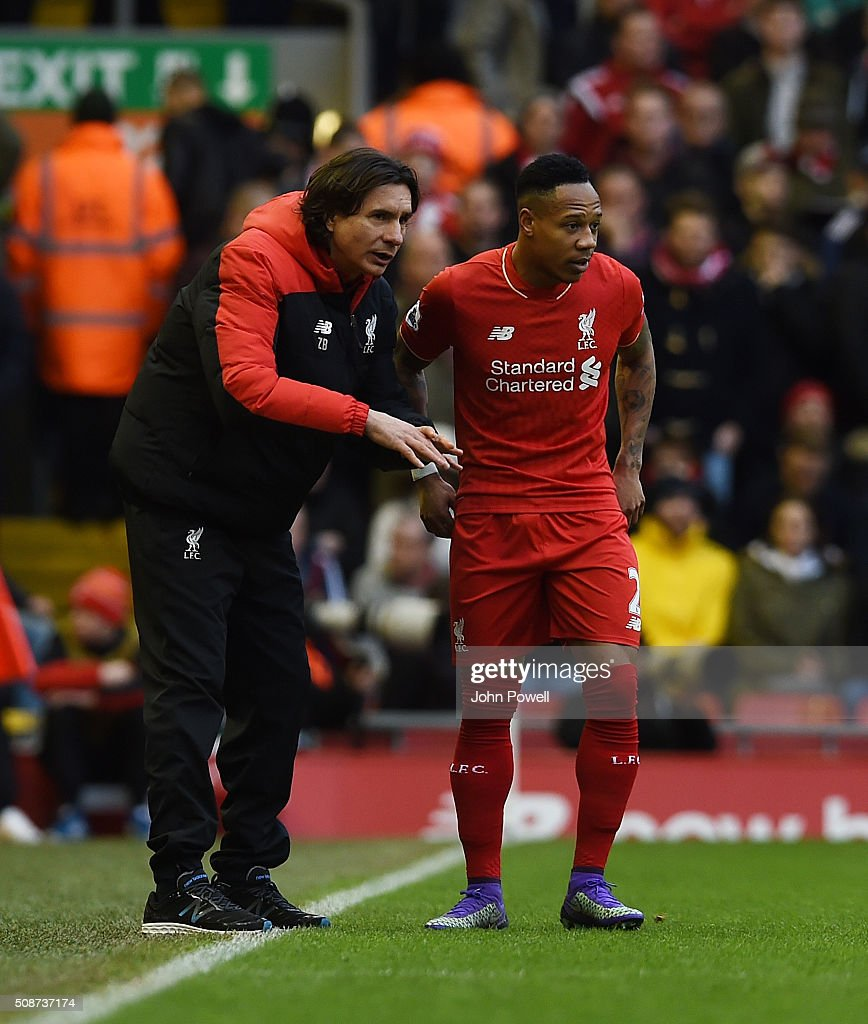 Zeljko Buvac assistant manager of Liverpool talks to <a gi-track='captionPersonalityLinkClicked' href=/galleries/search?phrase=Nathaniel+Clyne&family=editorial&specificpeople=5738873 ng-click='$event.stopPropagation()'>Nathaniel Clyne</a> of Liverpool during the Barclays Premier League match between Liverpool and Sunderland at Anfield on February 6, 2016 in Liverpool, England.