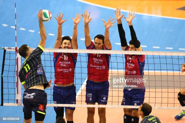 Zeljko Coric and Dejean Radic and Toafa Takaniko of Ajaccio during the Ligue A match between Toulouse Spacers and Gazelec Ajaccio on October 21 2017...