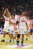 Zeljko Musa Hrvoje Batinovic and Igor Vori of Croatia look dejected after losing 2226 the Men's European Handball Championship second semi final...