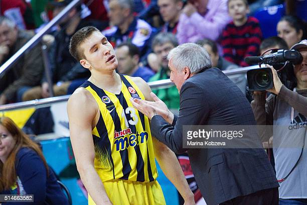 Zeljko Obradovic Head Coach of Fenerbahce Istanbul and Bogdan Bogdanovic #13 of Fenerbahce Istanbul during the 20152016 Turkish Airlines Euroleague...