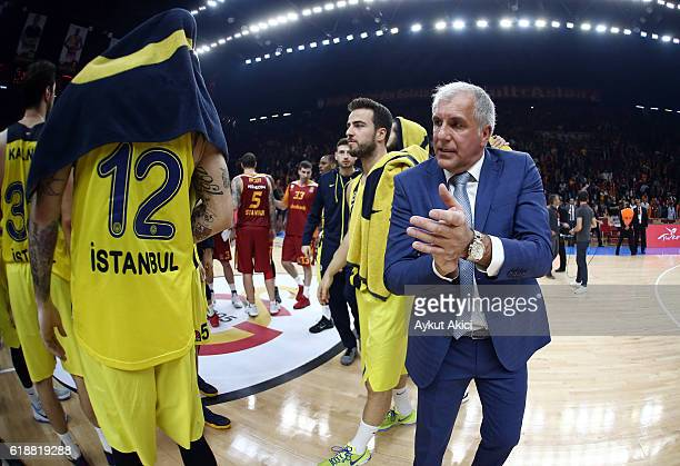 Zeljko Obradovic Head Coach of Fenerbahce Istanbul celebrates victory during the 2016/2017 Turkish Airlines EuroLeague Regular Season Round 4 game...